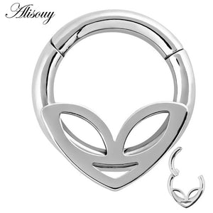 1PC 6 Styles Double Layers Steel Clicker Segment Nose Hoop Rings Hinged Ear Nose Septum Piercing Women Men Body Jewelry