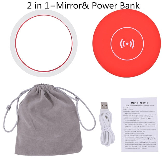 2 in 1 LED Lighted Makeup Mirror& Wireless Power Bank Mini Vanity Smart Sensing Lighting Portable Cosmetic Mirror For Travelling