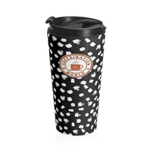 Laden Sie das Bild in den Galerie-Viewer, Black with white coffee pattern - Stainless Steel Travel Mug - Caffeination World