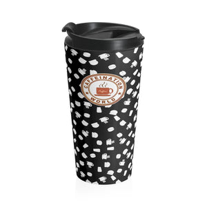 Black with white coffee pattern - Stainless Steel Travel Mug - Caffeination World