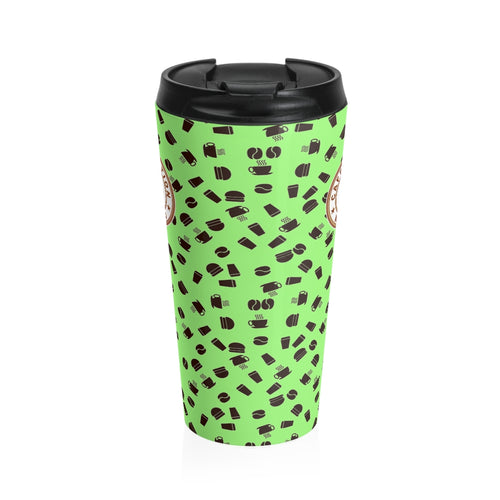 Lime with coffee pattern - Stainless Steel Travel Mug - Caffeination World