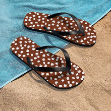 Load image into Gallery viewer, Coffee pattern (brown + white) - Unisex Flip-Flops - Caffeination World