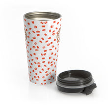 Load image into Gallery viewer, White with red coffee pattern - Stainless Steel Travel Mug - Caffeination World