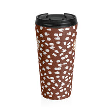 Load image into Gallery viewer, Brown with white coffee pattern - Stainless Steel Travel Mug - Caffeination World