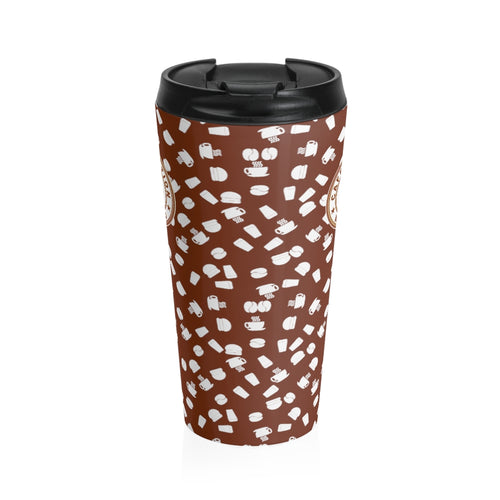 Brown with white coffee pattern - Stainless Steel Travel Mug - Caffeination World