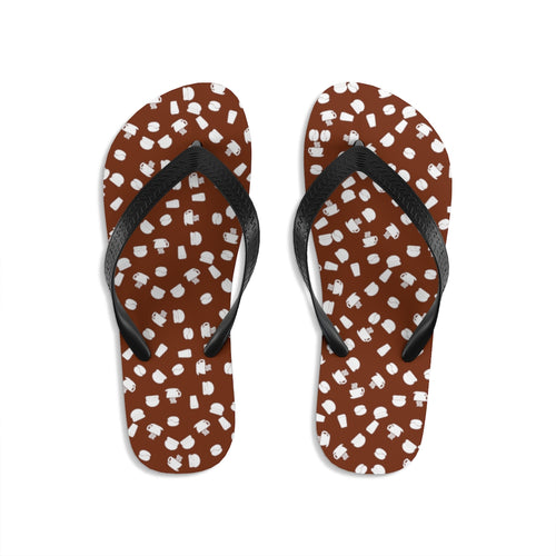 Coffee pattern (brown + white) - Unisex Flip-Flops - Caffeination World