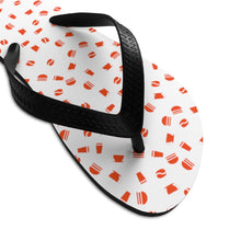 Load image into Gallery viewer, Coffee pattern (white + red) - Unisex Flip-Flops - Caffeination World