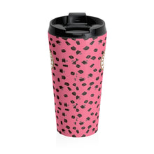 Load image into Gallery viewer, Pink with coffee pattern - Stainless Steel Travel Mug - Caffeination World