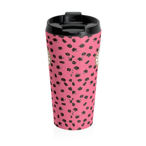 Pink with coffee pattern - Stainless Steel Travel Mug - Caffeination World