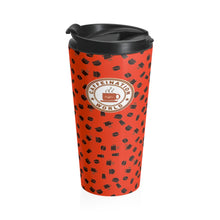 Load image into Gallery viewer, Red with coffee pattern - Stainless Steel Travel Mug - Caffeination World