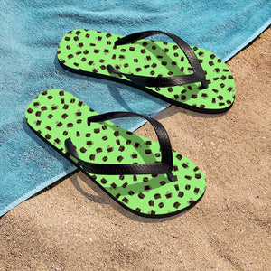 Coffee pattern (pistachio + brown) - Unisex Flip-Flops - Caffeination World