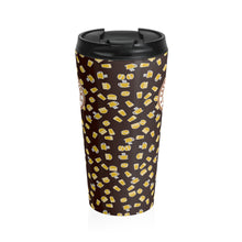 Load image into Gallery viewer, Brown with yellow coffee pattern - Stainless Steel Travel Mug - Caffeination World