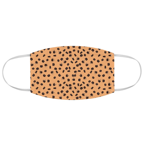 Coffee pattern (brown + orange) - Fabric Face Mask - Caffeination World