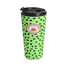 Load image into Gallery viewer, Lime with coffee pattern - Stainless Steel Travel Mug - Caffeination World