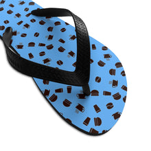 Load image into Gallery viewer, Coffee pattern (blue + black) - Unisex Flip-Flops - Caffeination World