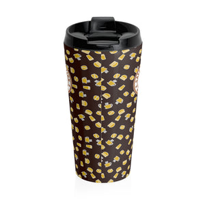 Brown with yellow coffee pattern - Stainless Steel Travel Mug - Caffeination World