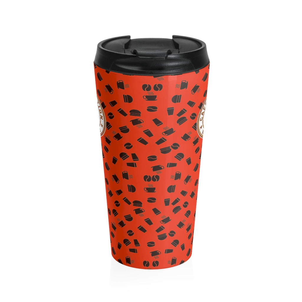 Red with coffee pattern - Stainless Steel Travel Mug - Caffeination World