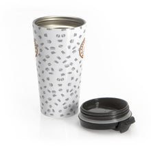 Load image into Gallery viewer, White with gray coffee pattern - Stainless Steel Travel Mug - Caffeination World