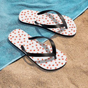 Coffee pattern (white + red) - Unisex Flip-Flops - Caffeination World