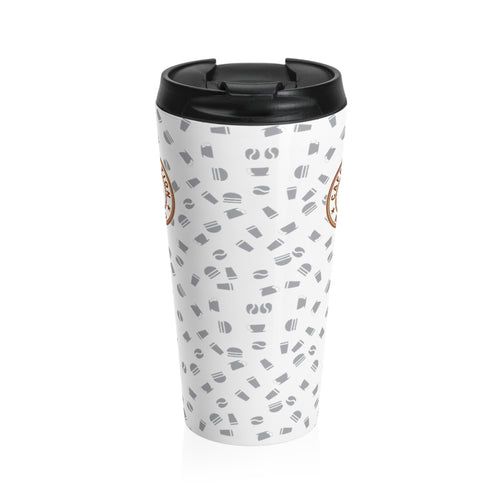 White with gray coffee pattern - Stainless Steel Travel Mug - Caffeination World