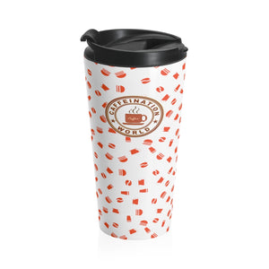 White with red coffee pattern - Stainless Steel Travel Mug - Caffeination World
