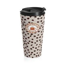 Load image into Gallery viewer, Light brown with coffee pattern - Stainless Steel Travel Mug - Caffeination World