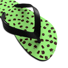 Load image into Gallery viewer, Coffee pattern (pistachio + brown) - Unisex Flip-Flops - Caffeination World