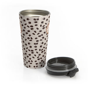 Light brown with coffee pattern - Stainless Steel Travel Mug - Caffeination World