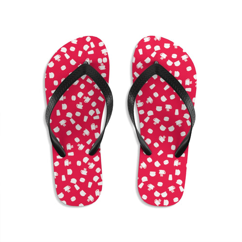 Coffee pattern (cherry + white) - Unisex Flip-Flops - Caffeination World
