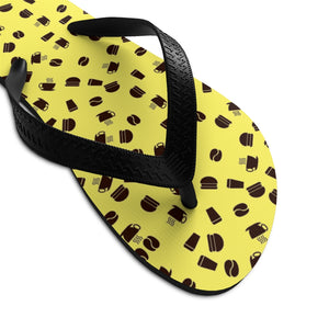 Coffee pattern (yellow + brown) - Unisex Flip-Flops - Caffeination World