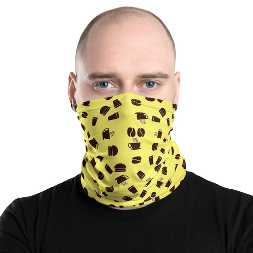 Neck Gaiter | Coffee pattern - yellow - Caffeination World
