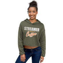 Load image into Gallery viewer, Crop Hoodie - Streamer powered by coffee - Caffeination World