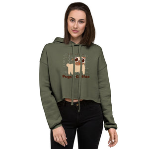 Crop Hoodie - Pugs and coffee lifestyle - Caffeination World