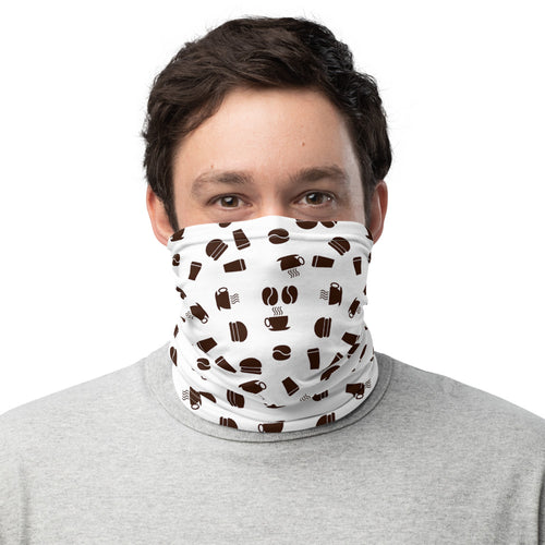 Neck Gaiter | Coffee pattern - white - Caffeination World