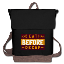 Load image into Gallery viewer, Death before decaf - Canvas Backpack - Caffeination World