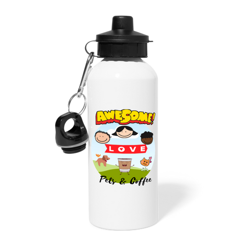 Awesome people love pets & coffee - Water Bottle - Caffeination World