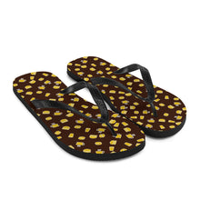 Load image into Gallery viewer, Brown & Yellow Coffee Pattern - Flip-Flops - Caffeination World
