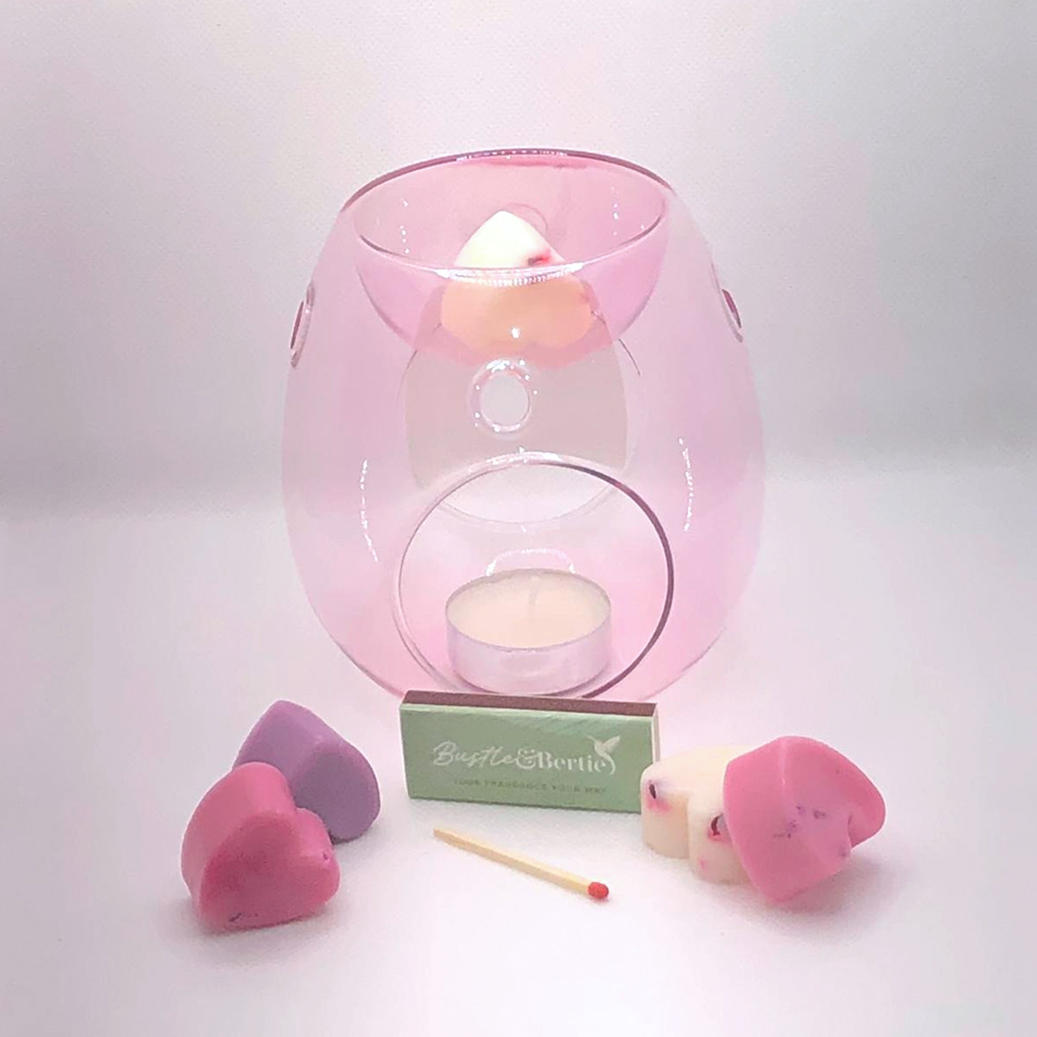 Rose Pink Wax Melt Burner with 6X Melts.Please choose fragrance from our selection you wish to have in and add them to the order in your notes