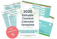 2020 Editable Content Calendar Template for Makers