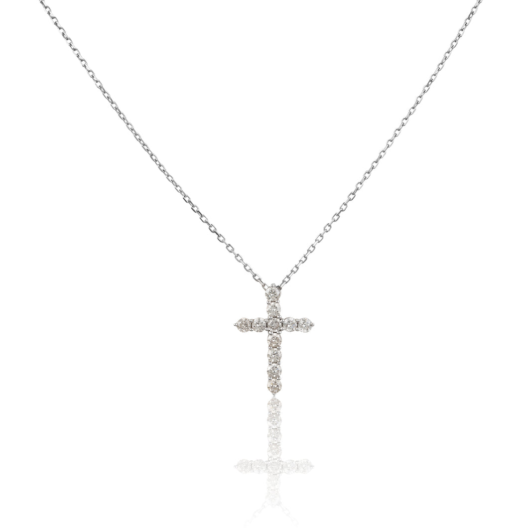<transcy>JustLise Faith 18 Karat Weißgold Diamant Kreuz 0,49 ct</transcy>