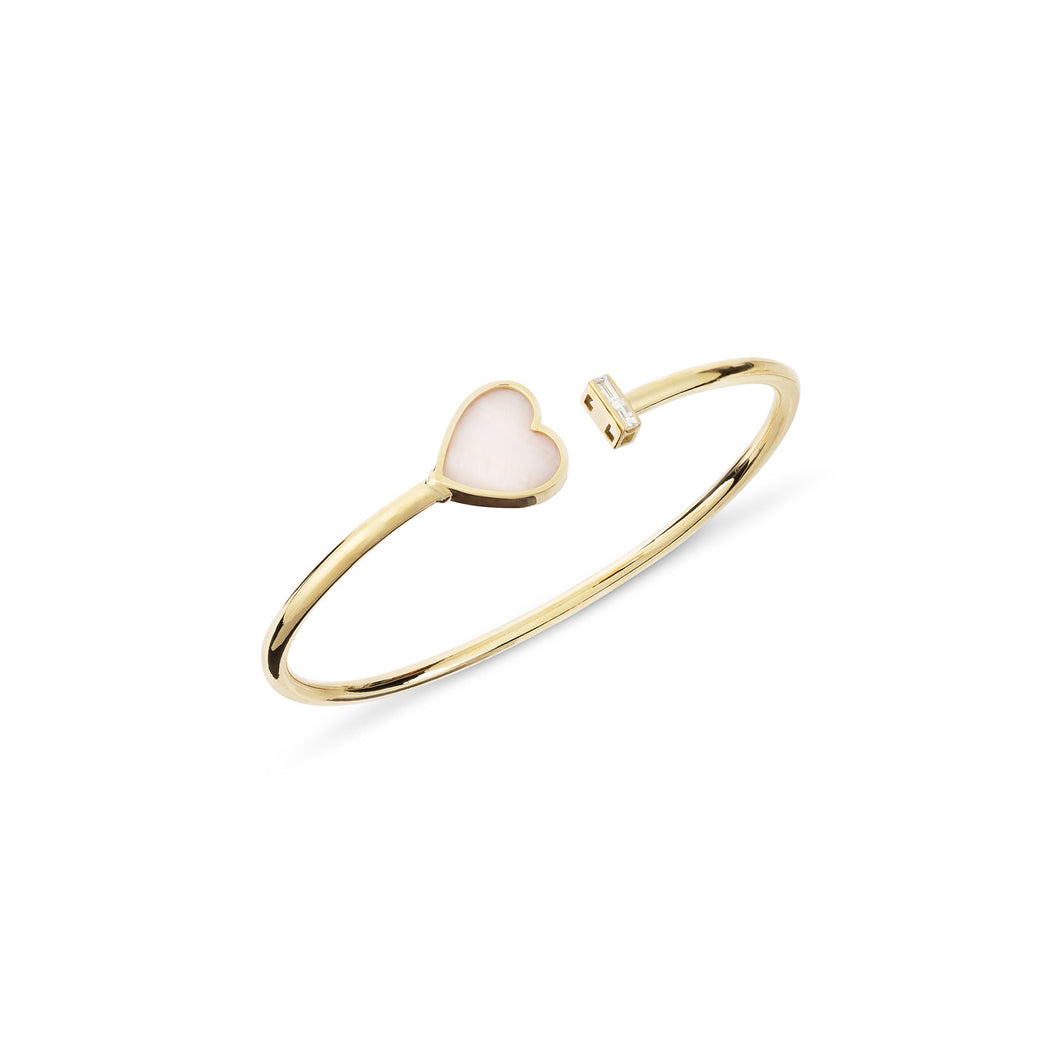 Joy Heart  18K Yellow Gold Diamond Bangle/ with mother-of-pearl
