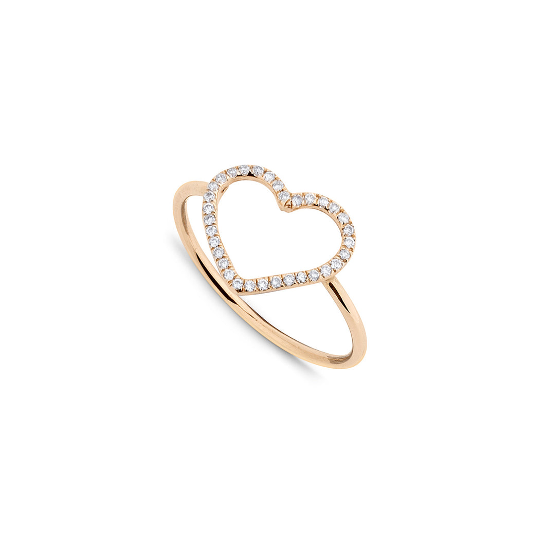 LV ring 18K Rose Gold Pave Diamond Heart 0.10ct