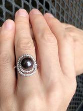 Load image into Gallery viewer, Penelope -Tahitian South Sea Pearl - 9mm Silver Tahitian/ Diamond VS -0.61CT/ 18K White Gold