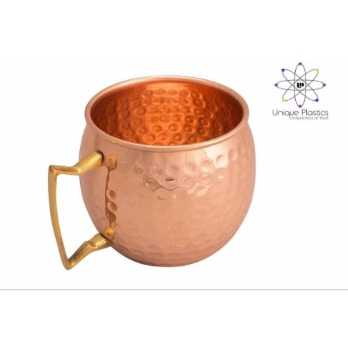Copper Mug (Round Hammered with brass handle)