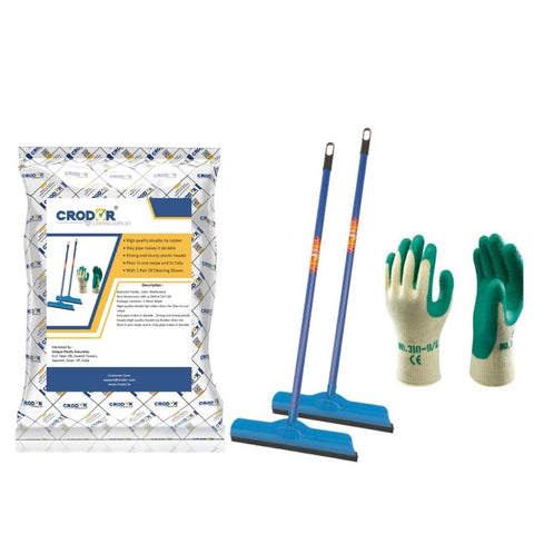 Gala Double Lip Wiper (Pack of 2) + 1 Pair Of Cleaning Gloves