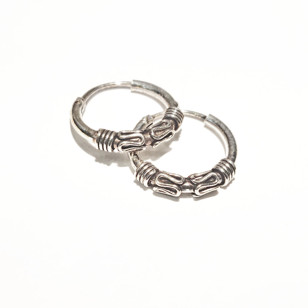 Blint Silver Hoops (Bali) for Women & Girls (Pure 925 Sterling Silver) (2.050 gms)