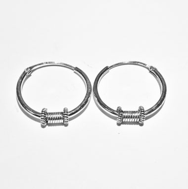 Blint Silver Hoops (Bali) for Women & Girls (Pure 925 Sterling Silver) (2.200 gms)