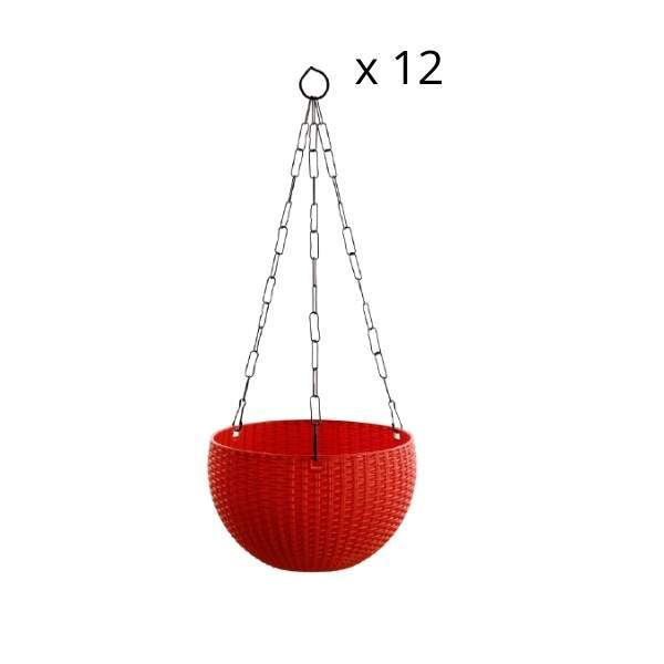 Euro Basket (8 Inch, Plastic) hanging planters Mix Colors (12 Pieces)