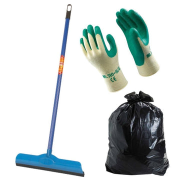 Gala Double Lip Wiper + 1 Pair Of Cleaning Gloves + 30 Pieces Garbage Bag (Small)
