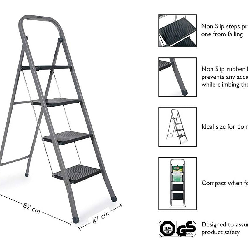 Gimi Tiko 4 Steps Steel Foldable Ladder - CRODOR Wholesale